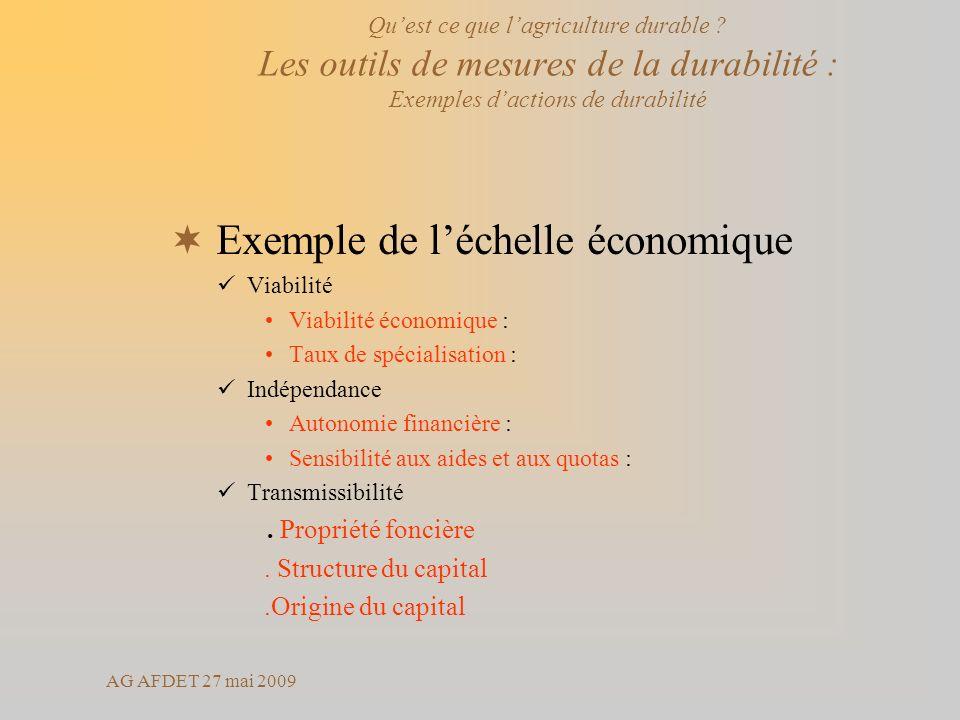 Exemple de l'échelle économique