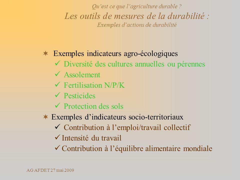 Exemples indicateurs agro-écologiques