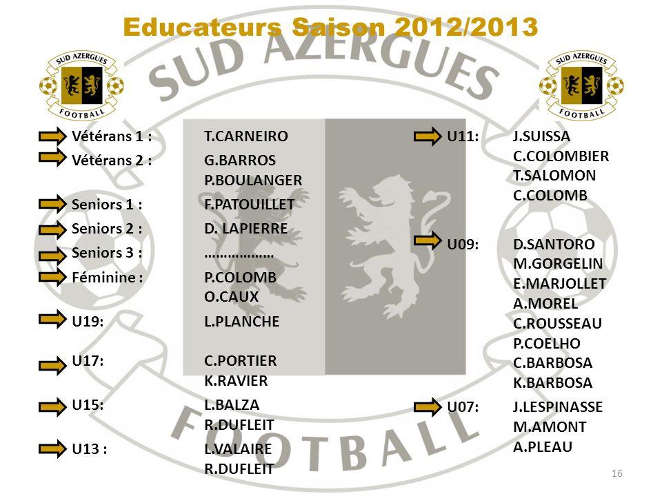 Educateurs Saison 2012/2013 Vétérans 1 : T.CARNEIRO
