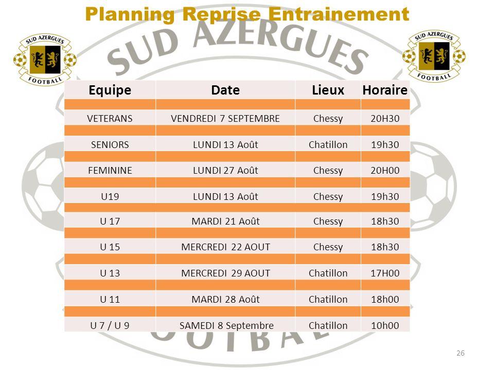 Planning Reprise Entrainement
