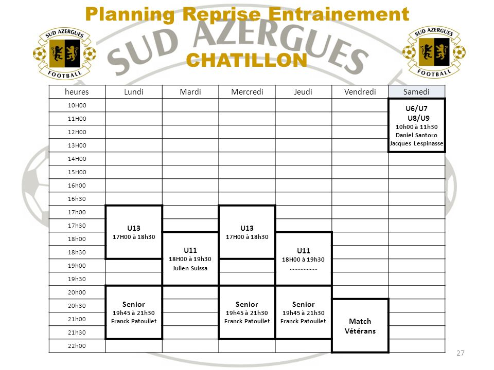 Planning Reprise Entrainement CHATILLON