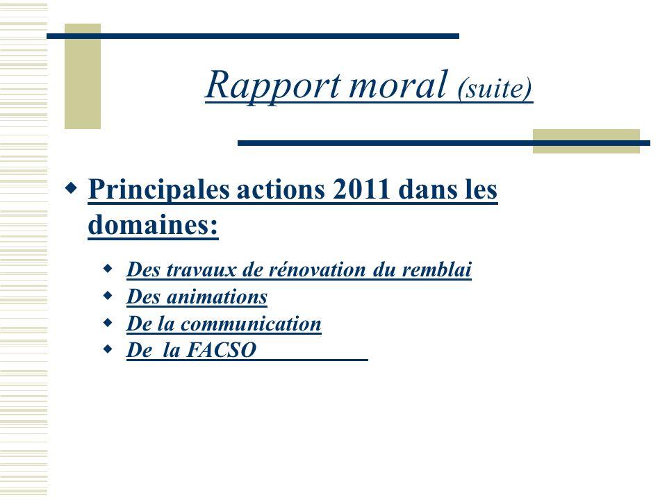 Rapport moral (suite) Principales actions 2011 dans les domaines:
