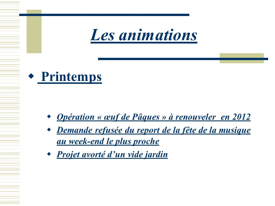 Les animations Printemps