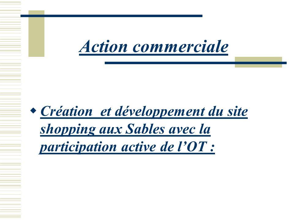 Action commerciale Création et développement du site shopping aux Sables avec la participation active de l'OT :