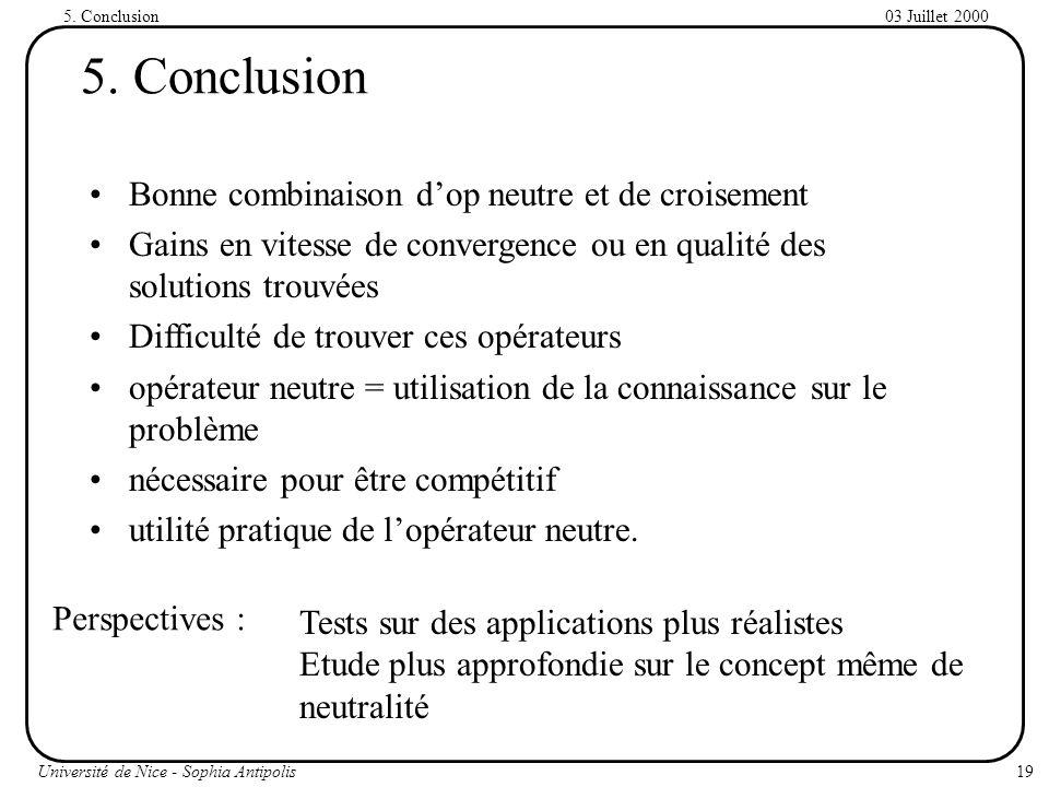 5. Conclusion Bonne combinaison d'op neutre et de croisement