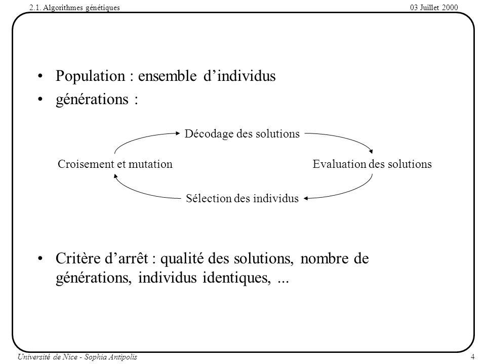 Population : ensemble d'individus générations :