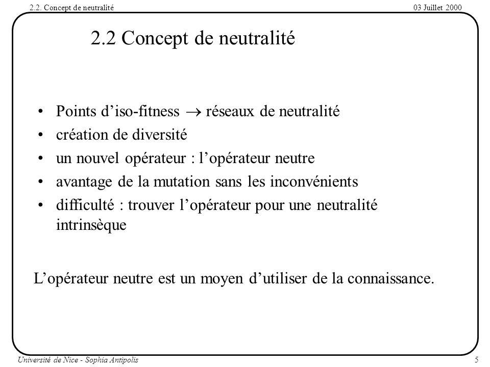2.2 Concept de neutralité Points d'iso-fitness  réseaux de neutralité