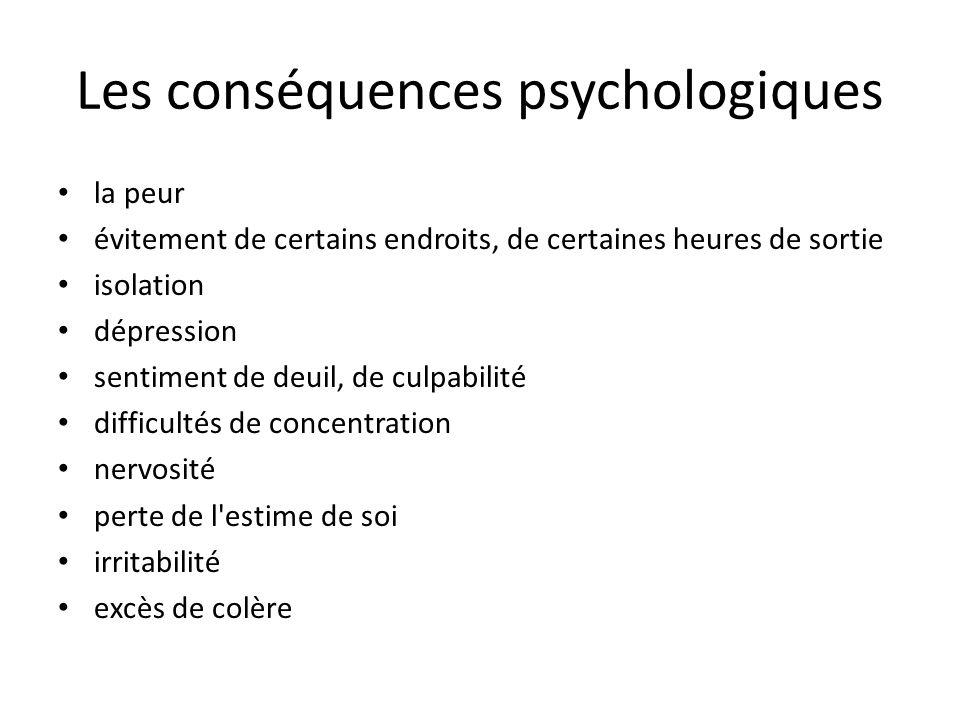 Les conséquences psychologiques