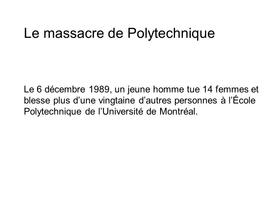 Le massacre de Polytechnique