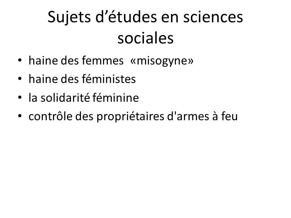 Sujets d'études en sciences sociales