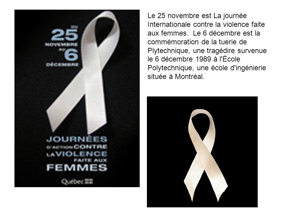 Le 25 novembre est La journée Internationale contre la violence faite aux femmes. Le 6 décembre est la commémoration de la tuerie de Plytechnique, une tragédire survenue le 6 décembre 1989 à l École Polytechnique, une école d ingénierie située à Montréal.
