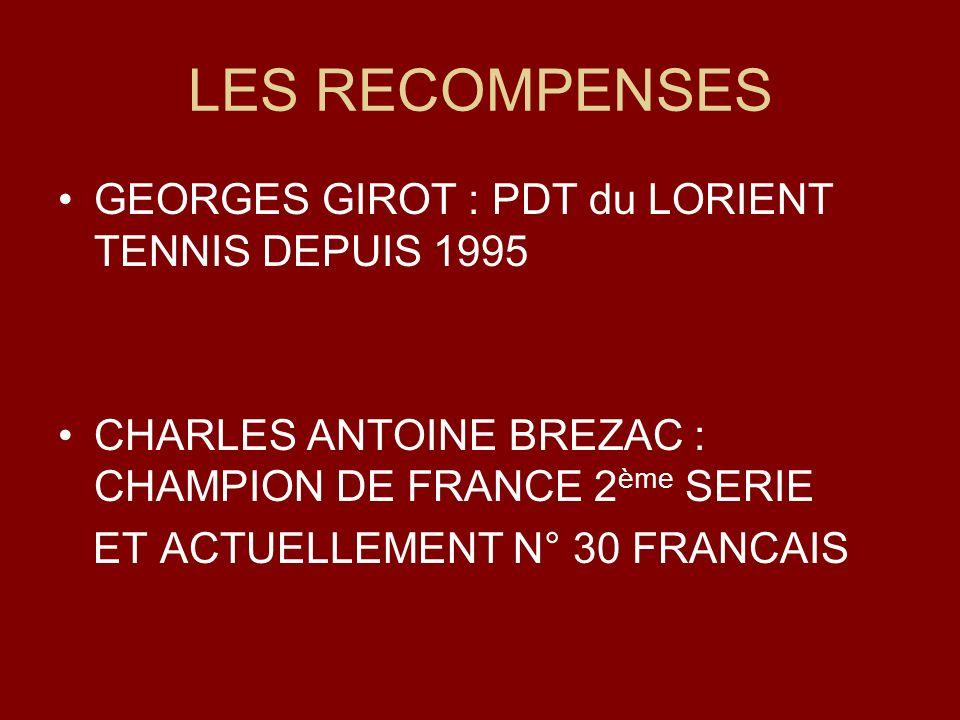 LES RECOMPENSES GEORGES GIROT : PDT du LORIENT TENNIS DEPUIS 1995