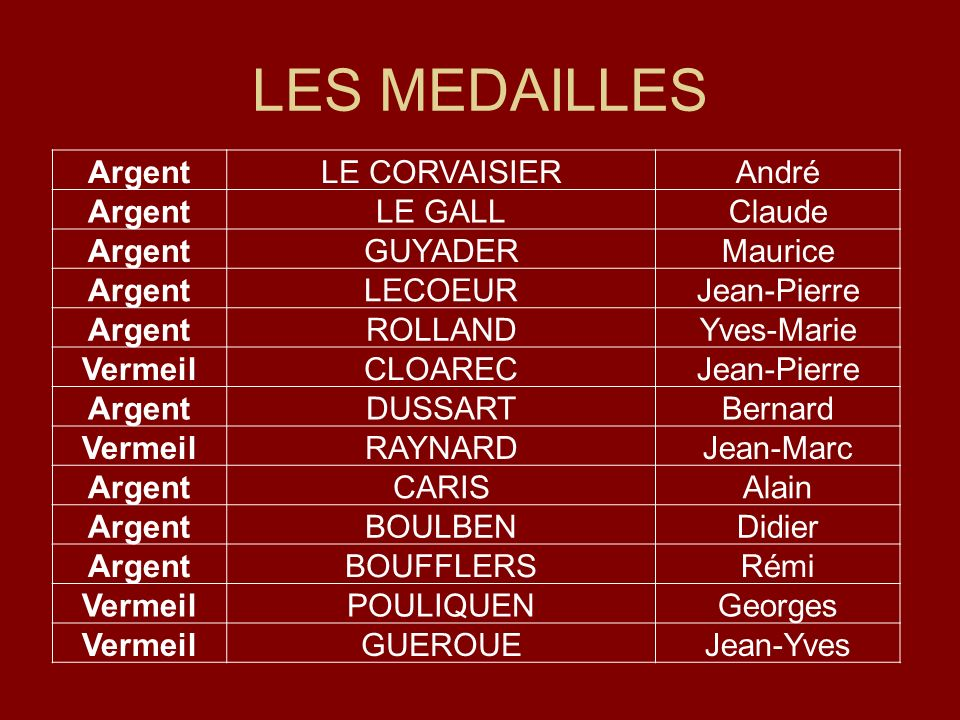 LES MEDAILLES Argent LE CORVAISIER André LE GALL Claude GUYADER