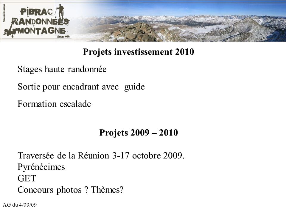 Projets investissement 2010