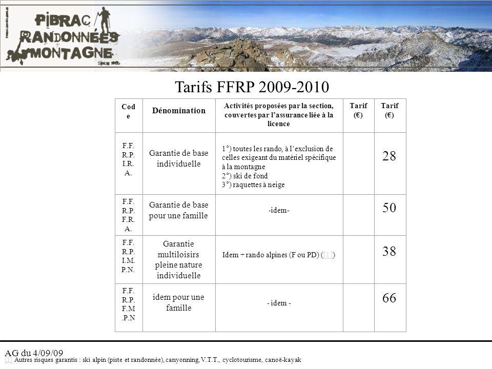 Tarifs FFRP 2009-2010 28 50 38 66 AG du 4/09/09 Dénomination