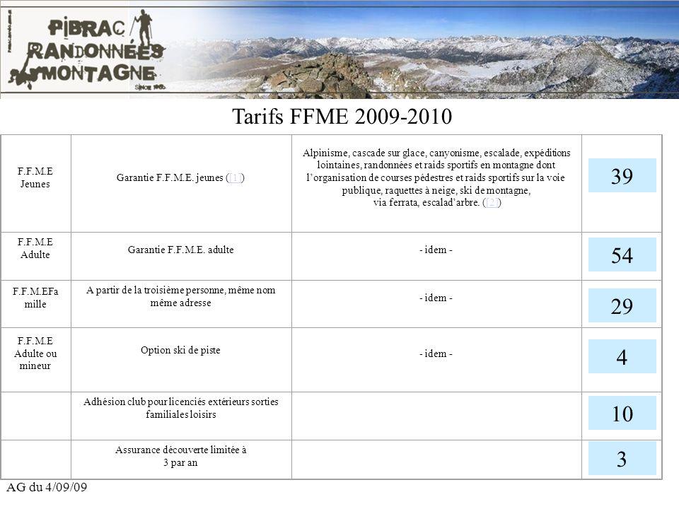 Tarifs FFME 2009-2010 39 54 29 4 10 3 AG du 4/09/09 F.F.M.E Jeunes