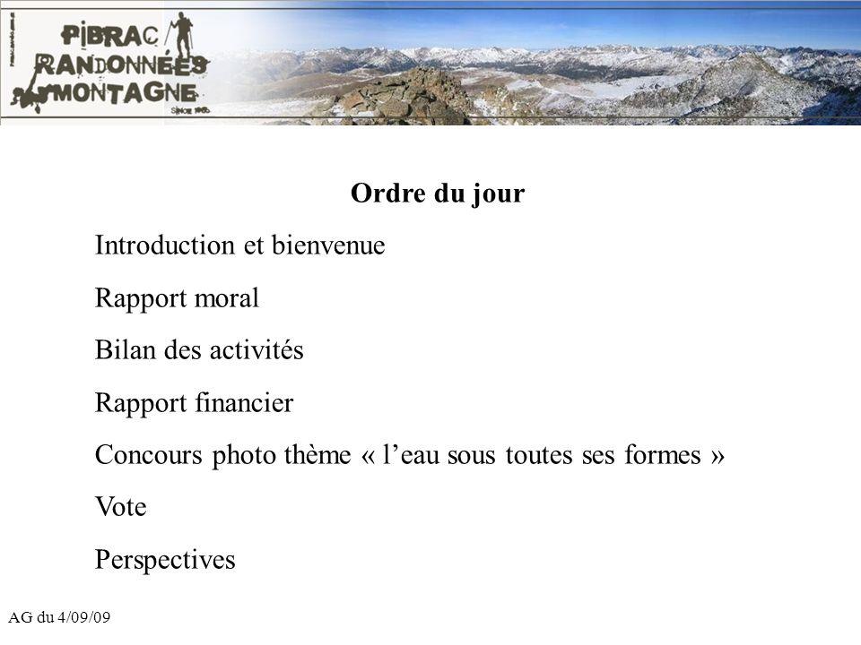 Introduction et bienvenue Rapport moral Bilan des activités