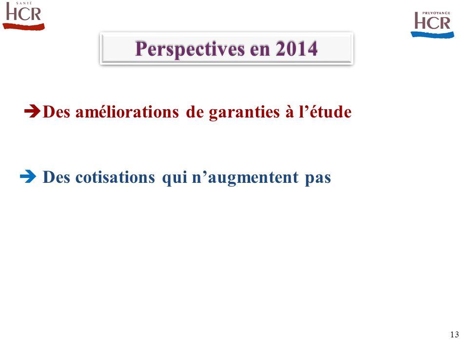 Perspectives en 2014 Des améliorations de garanties à l'étude