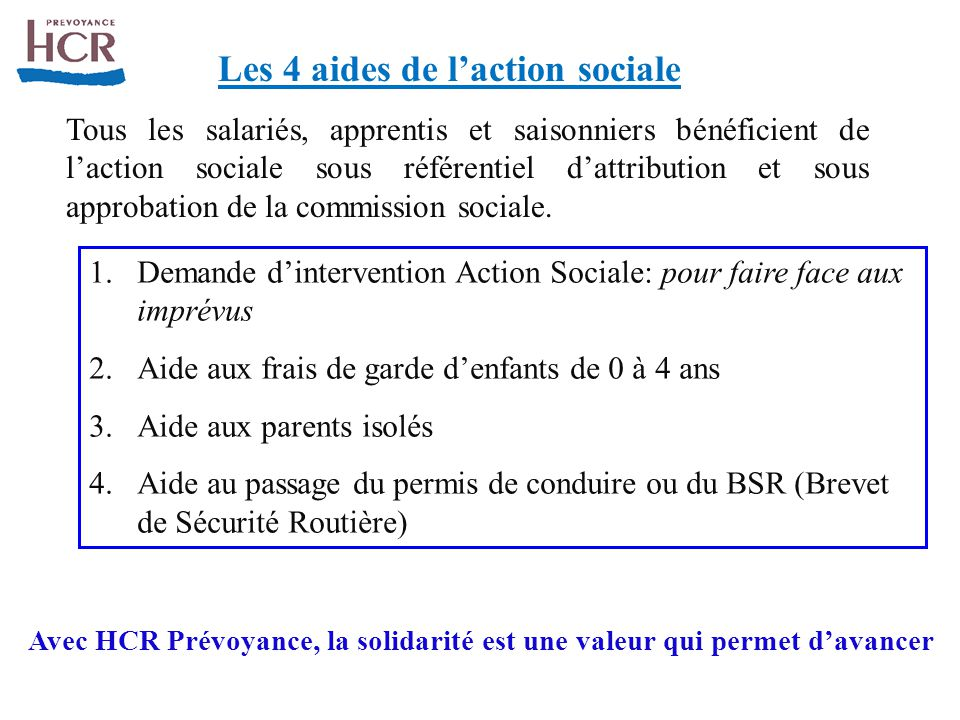 Les 4 aides de l'action sociale
