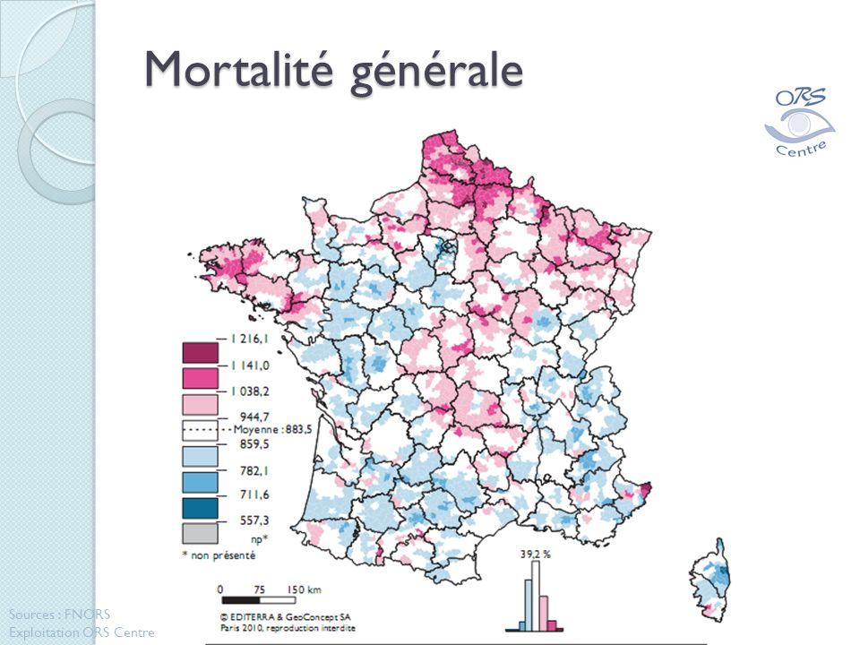 Mortalité générale Sources : FNORS Exploitation ORS Centre