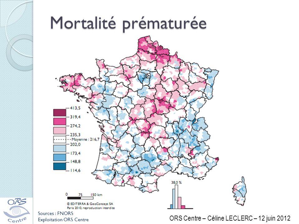 Mortalité prématurée ORS Centre – Céline LECLERC – 12 juin 2012