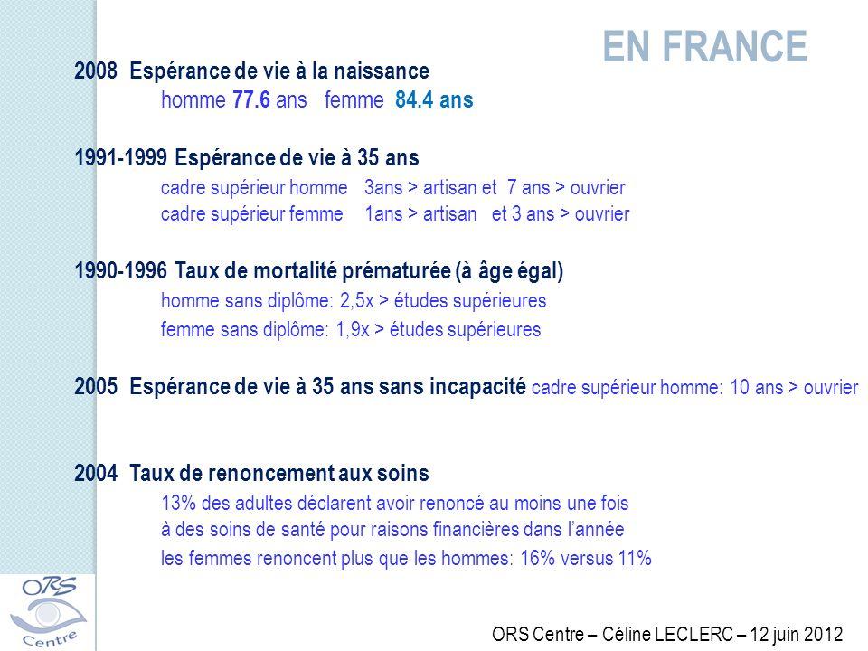 EN FRANCE 2008 Espérance de vie à la naissance