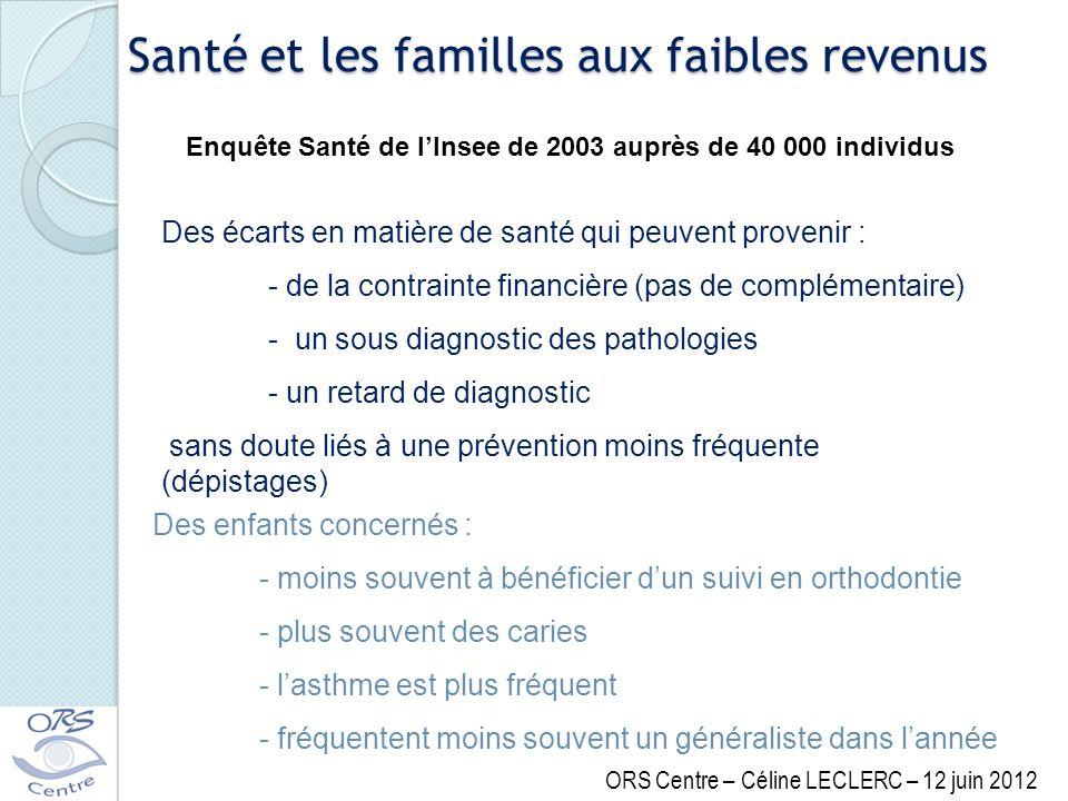 Santé et les familles aux faibles revenus