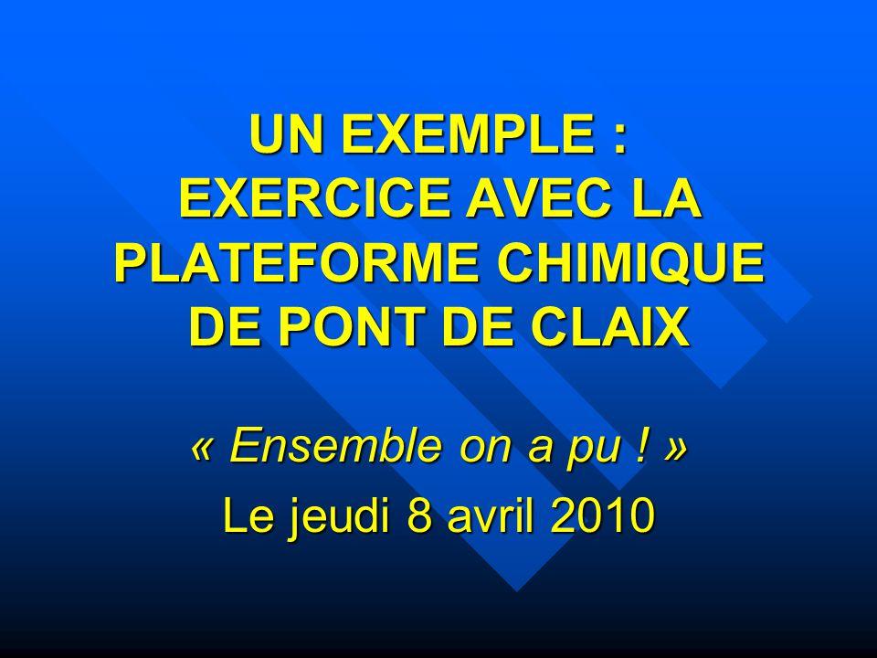 UN EXEMPLE : EXERCICE AVEC LA PLATEFORME CHIMIQUE DE PONT DE CLAIX