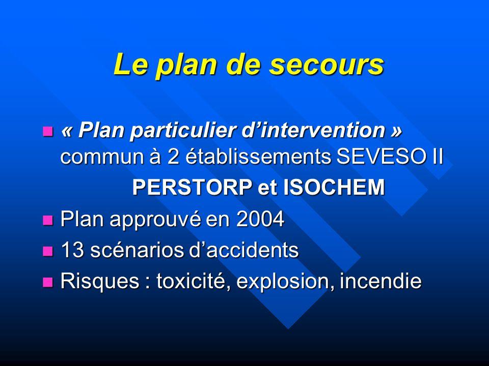 Le plan de secours « Plan particulier d'intervention » commun à 2 établissements SEVESO II. PERSTORP et ISOCHEM.