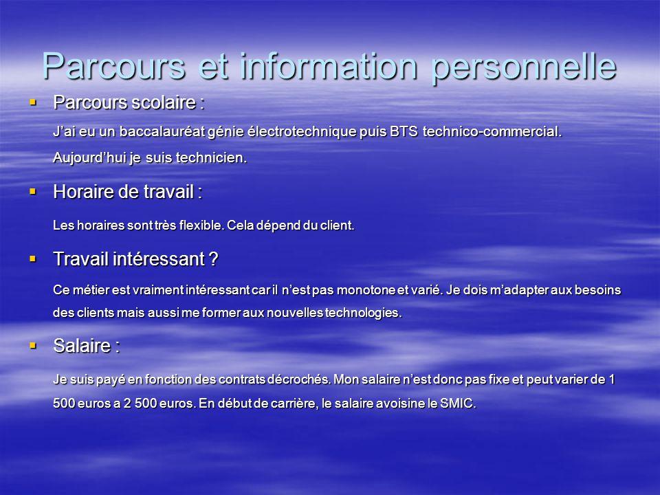 Parcours et information personnelle