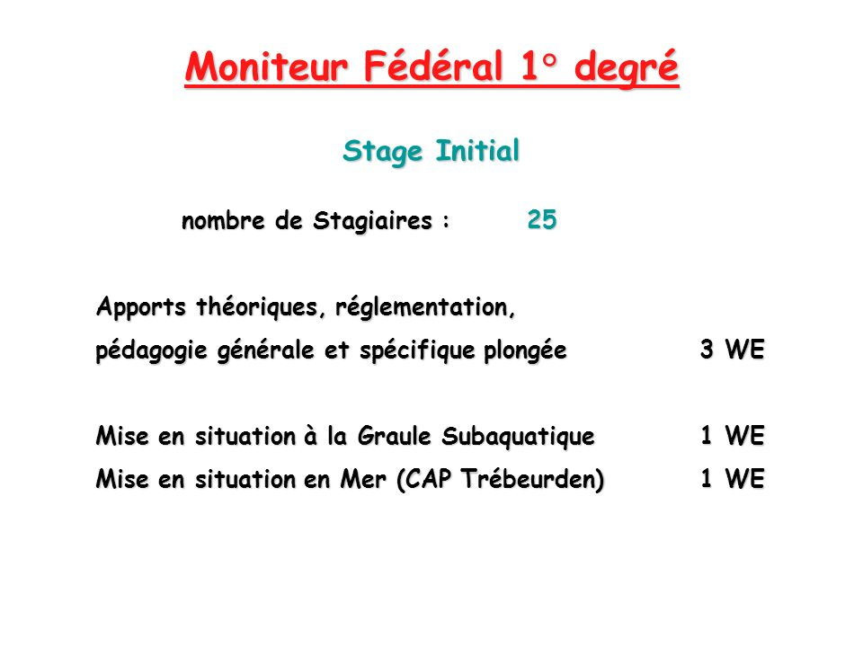 Moniteur Fédéral 1° degré