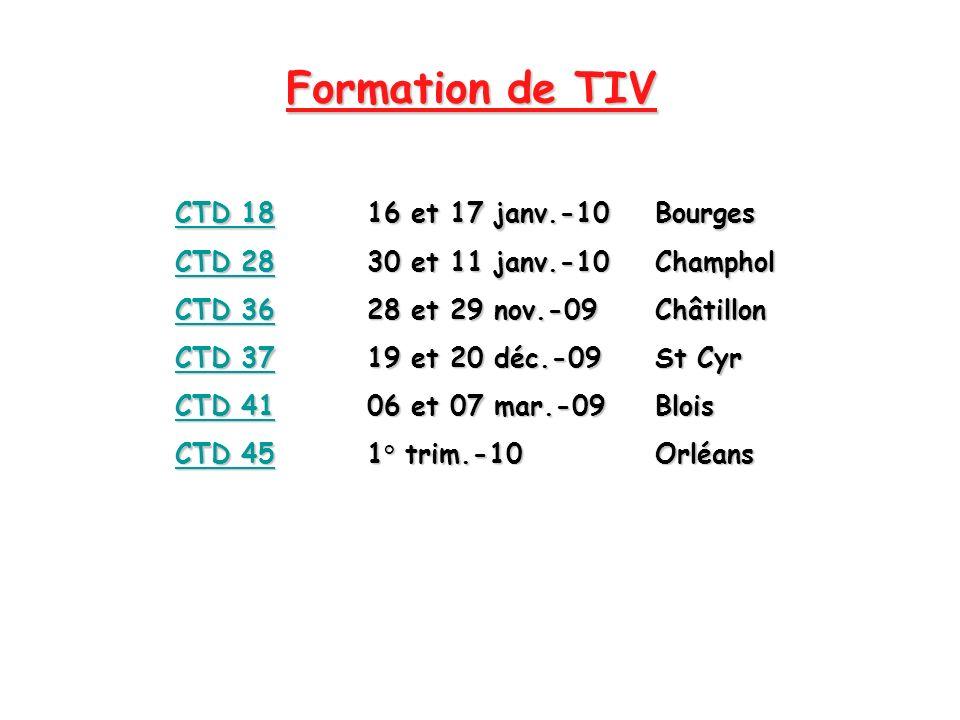Formation de TIV CTD 18 16 et 17 janv.-10 Bourges