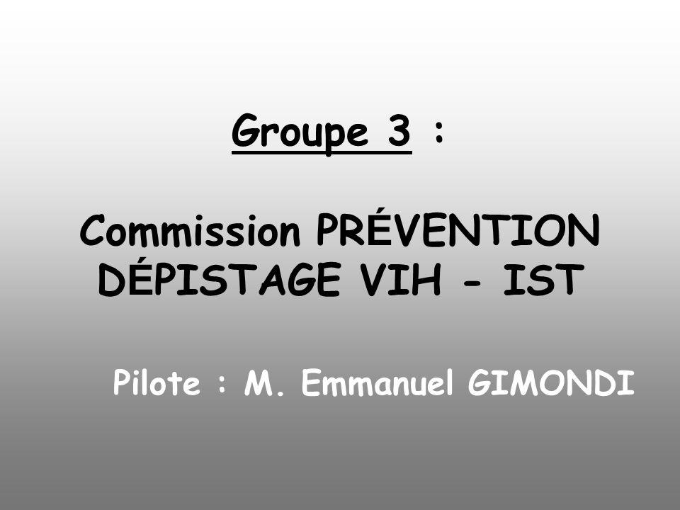 Groupe 3 :. Commission PRÉVENTION DÉPISTAGE VIH - IST. Pilote : M