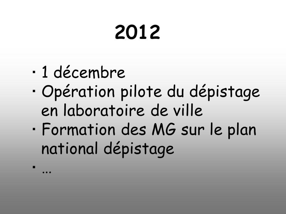 2012  1 décembre  Opération pilote du dépistage en laboratoire de ville  Formation des MG sur le plan national dépistage  …