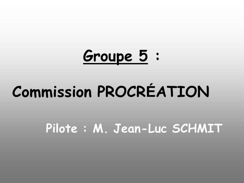Groupe 5 : Commission PROCRÉATION Pilote : M. Jean-Luc SCHMIT