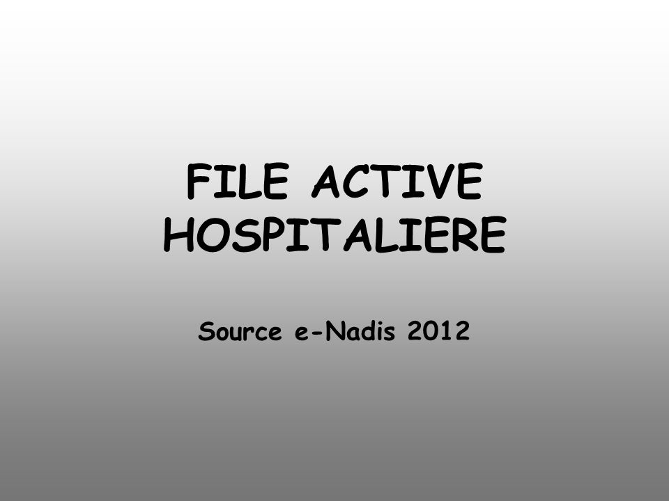 FILE ACTIVE HOSPITALIERE Source e-Nadis 2012