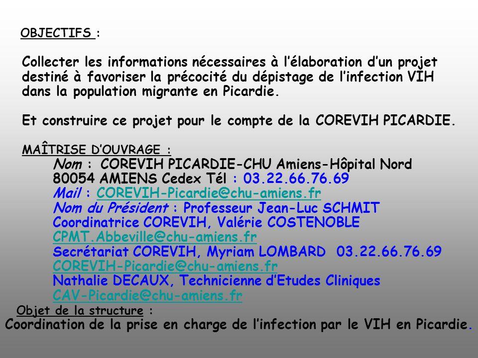 OBJECTIFS : Collecter les informations nécessaires à l'élaboration d'un projet destiné à favoriser la précocité du dépistage de l'infection VIH dans la population migrante en Picardie.