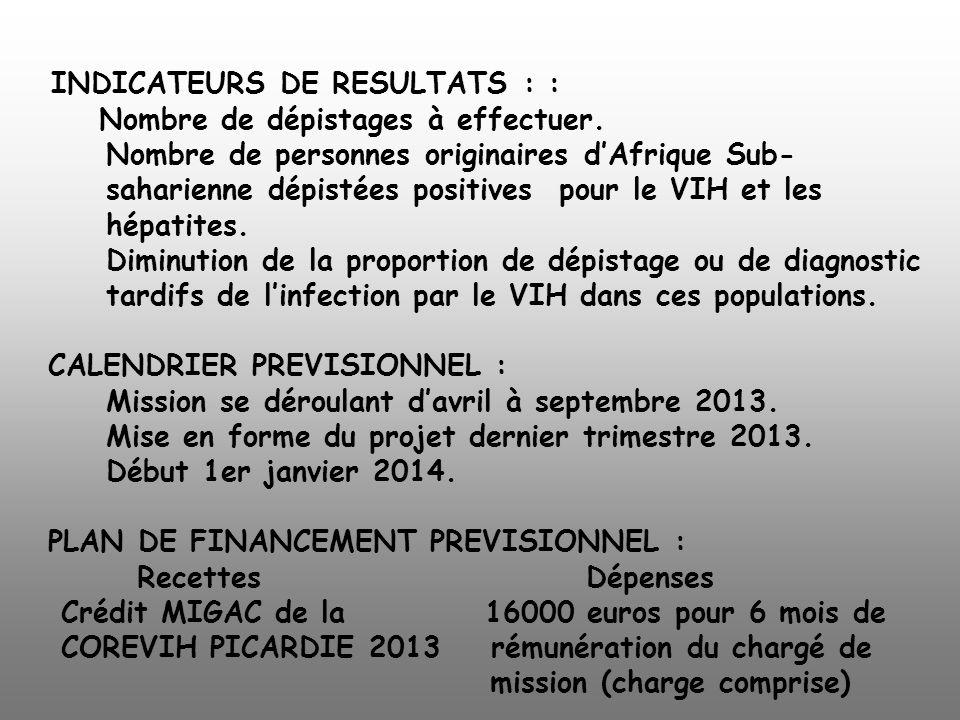 INDICATEURS DE RESULTATS : : Nombre de dépistages à effectuer