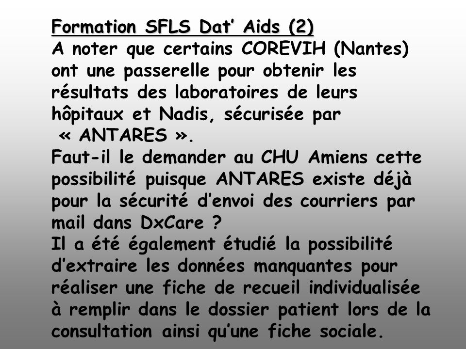 Formation SFLS Dat' Aids (2). A noter que certains COREVIH (Nantes)