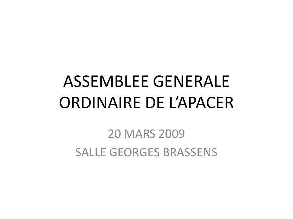 ASSEMBLEE GENERALE ORDINAIRE DE L'APACER