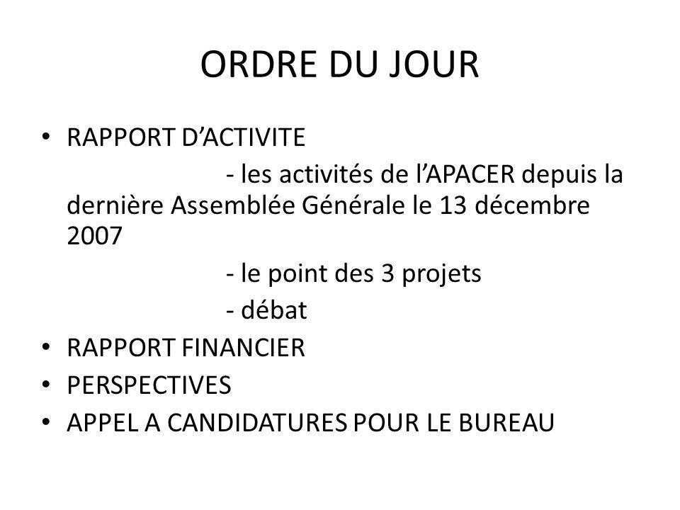 ORDRE DU JOUR RAPPORT D'ACTIVITE