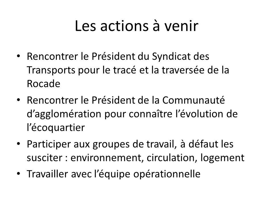 Les actions à venir Rencontrer le Président du Syndicat des Transports pour le tracé et la traversée de la Rocade.