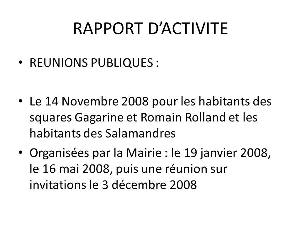 RAPPORT D'ACTIVITE REUNIONS PUBLIQUES :