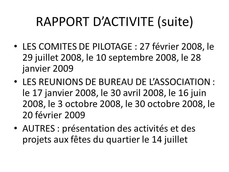 RAPPORT D'ACTIVITE (suite)
