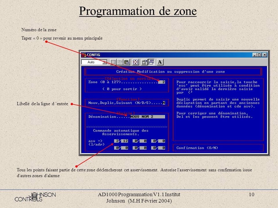AD1000 Programmation V1.1 Institut Johnson (M.H Février 2004)