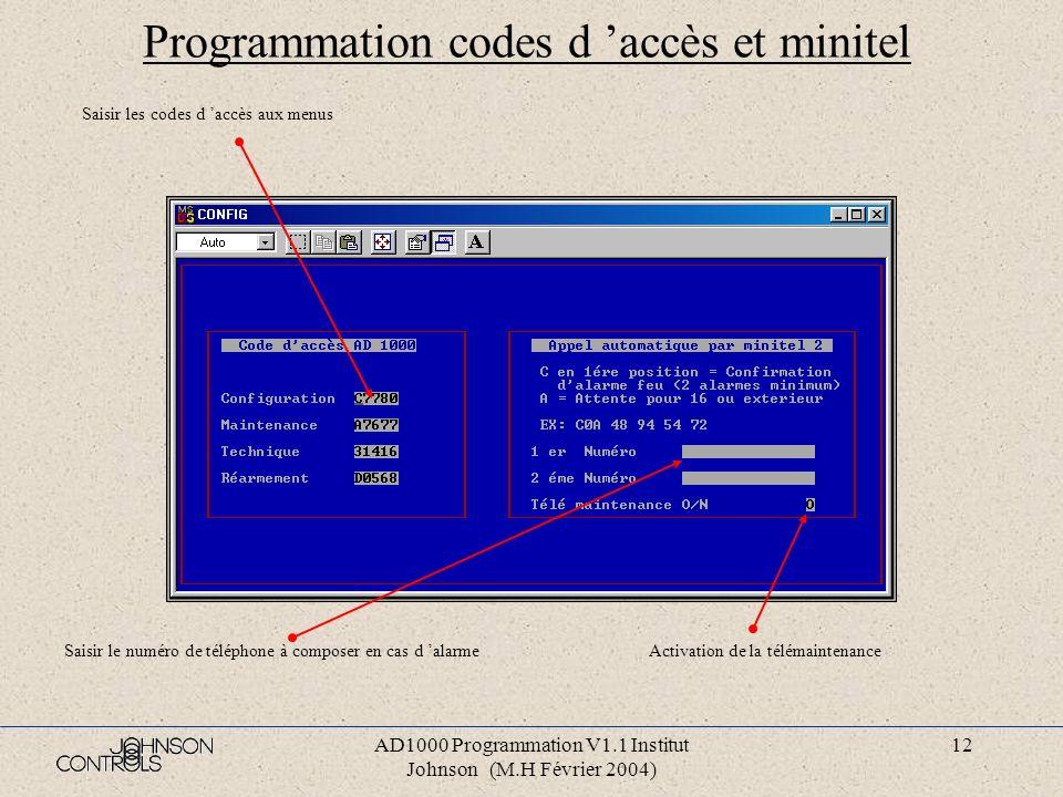 Programmation codes d 'accès et minitel