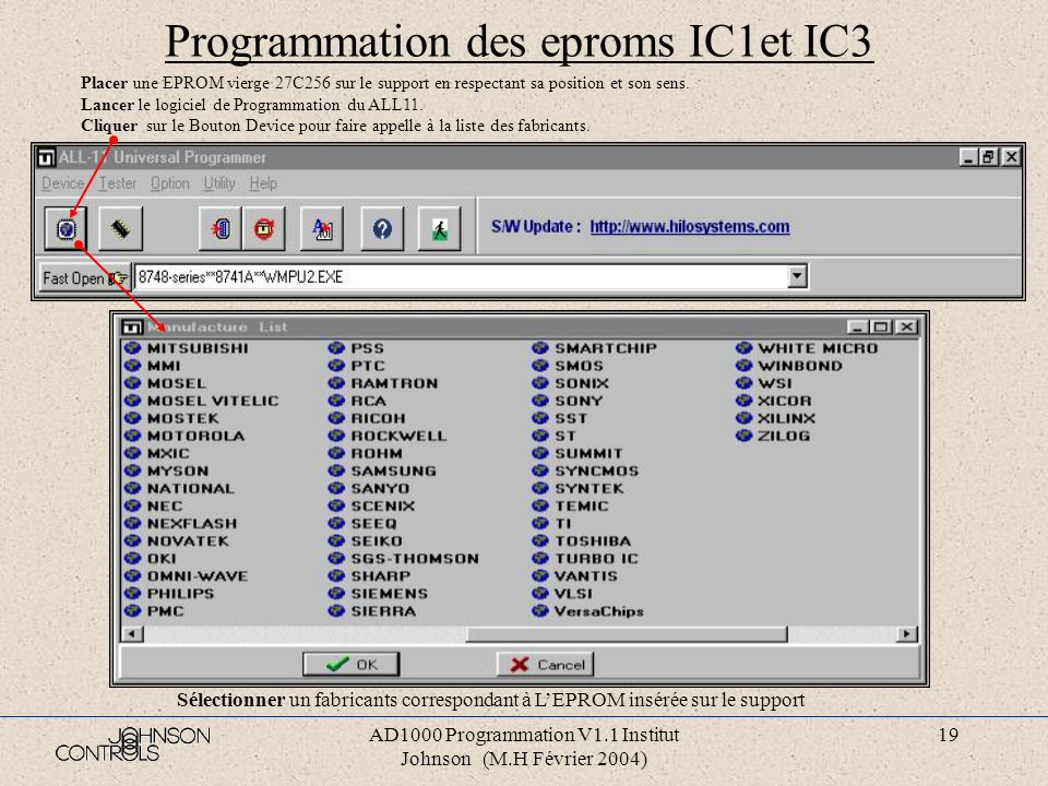 Programmation des eproms IC1et IC3