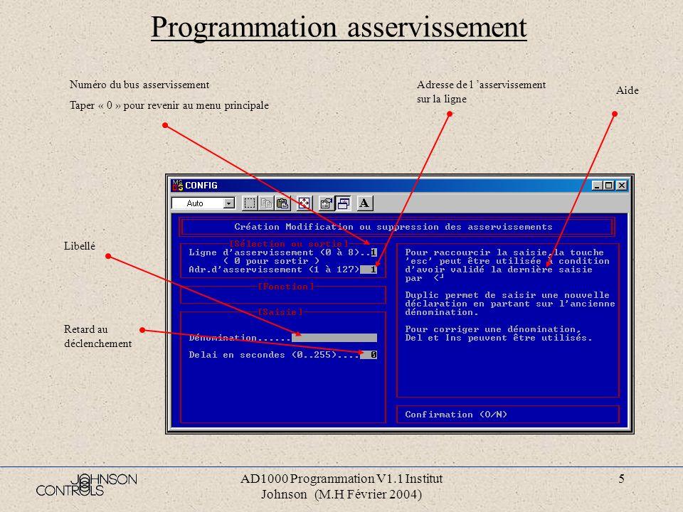 Programmation asservissement