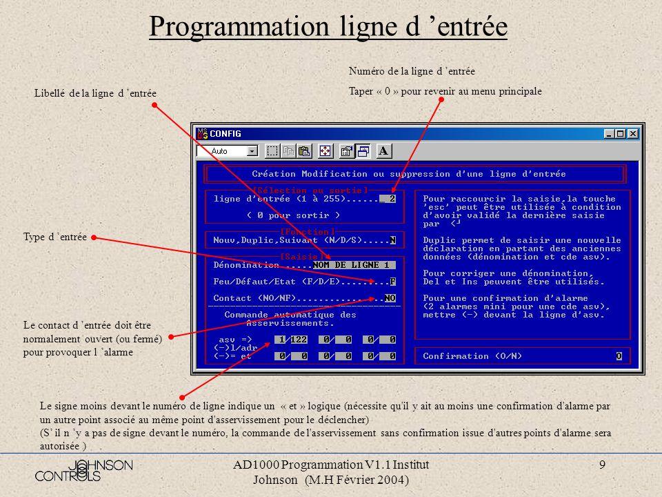 Programmation ligne d 'entrée