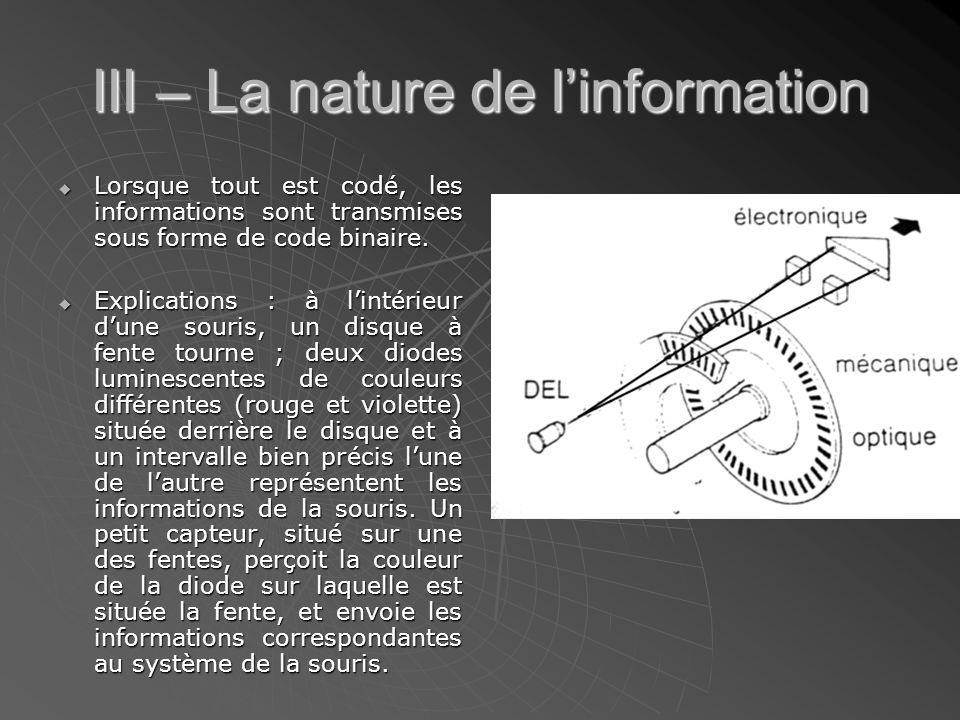 III – La nature de l'information